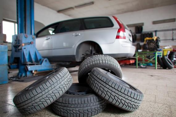 4 tires near van